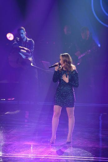 La chanteuse Audrey Miscioscia à l'émission La Voix.