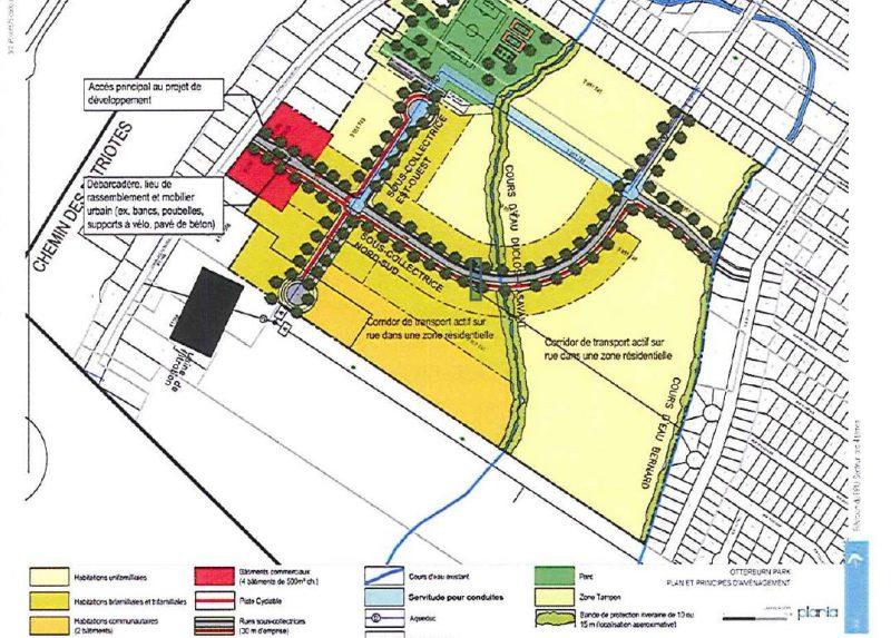 Le projet des Quatre-Terres après modifications. Le secteur en jaune foncé représente la zone à moyenne densité.