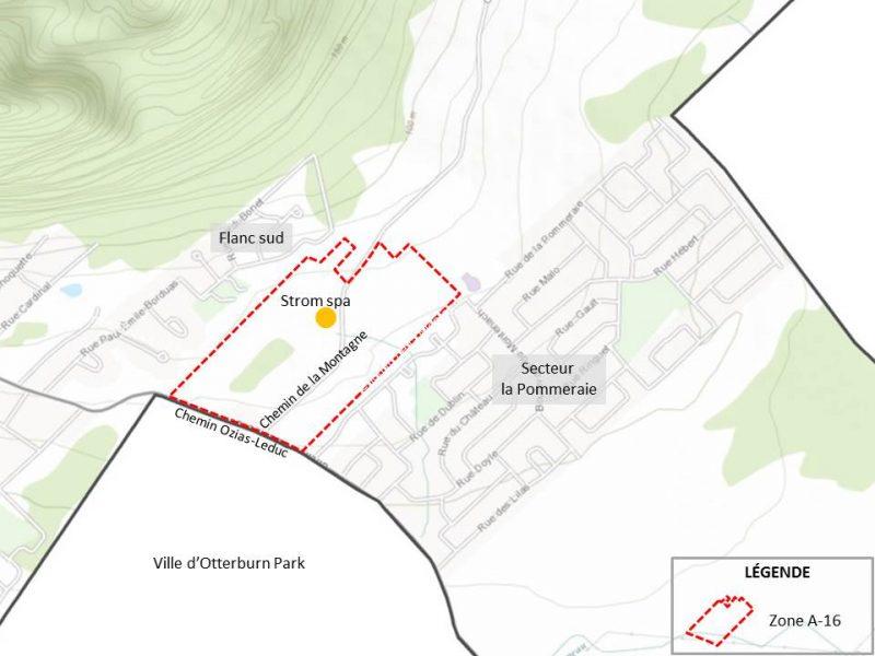 Vue aérienne du secteur du chemin de la Montagne.