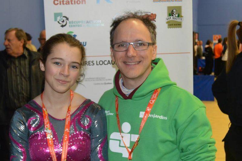 Audrey-Anne L'Heureux et son entraîneur, André Emond, aux Jeux du Québec de Drummondville.