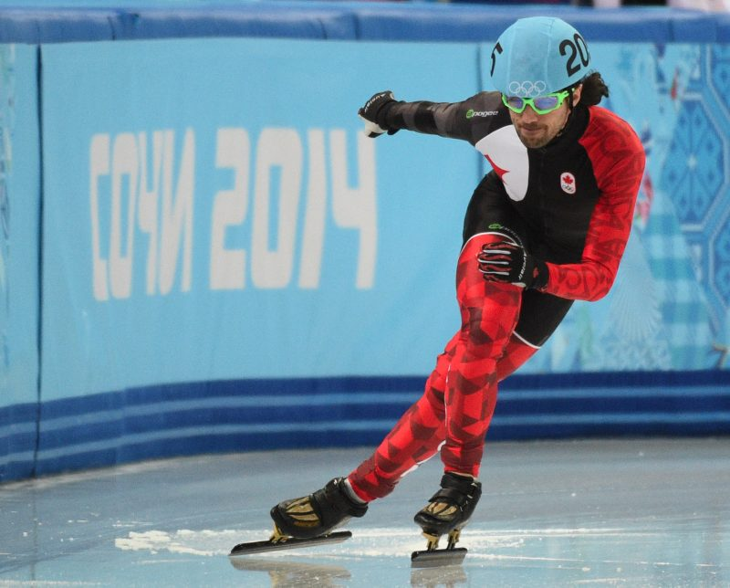 Charles Hamelin of Sainte-Julie, QC  falls during the qualification of the 1000 m  at the 2014 Winter Games in Sochi Russia, on 15 february 2014.