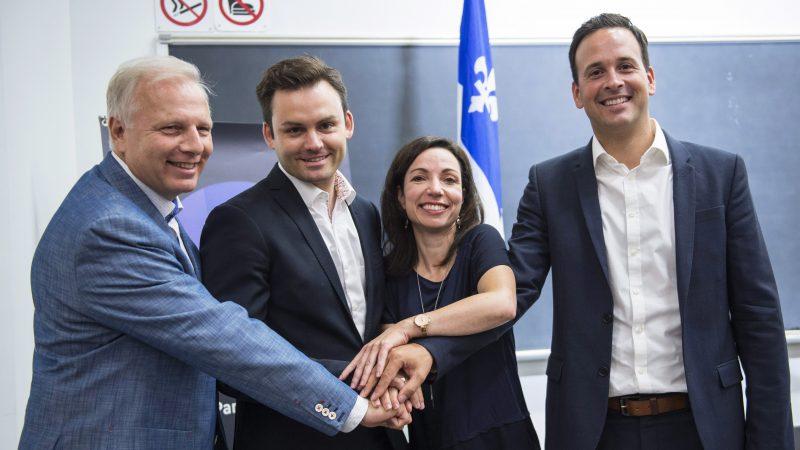Jean-François Lisée, Paul Saint-Pierre Plamondon, Martine Ouellet et Alexandre Cloutier.