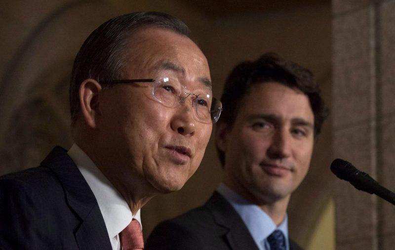 Le premier ministre Justin Trudeau accueillait jeudi à Ottawa le secrétaire général de l'ONU, Ban Ki-moon.