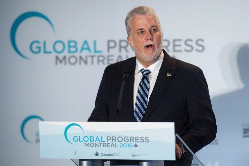 Le premier ministre Philippe Couillard a prononcé un discours lors de la conférence Global Progress.