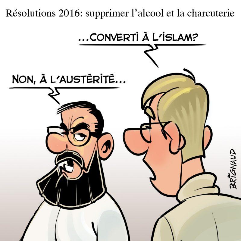 Caricature de Pierre Brignaud du 2 janvier.