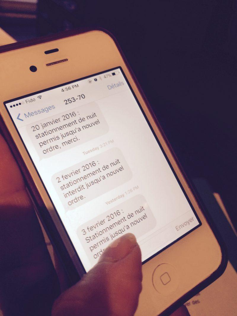 Saint-Jean-sur-Richelieu transmet les interdictions de stationnement par message texte.