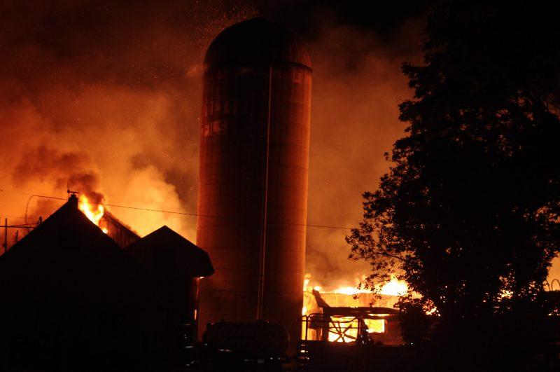 Plus de 200 bêtes ont trouvé la mort dans un violent incendie à la ferme laitière Gaudette et fils, située à Saint-Denis-sur-Richelieu.