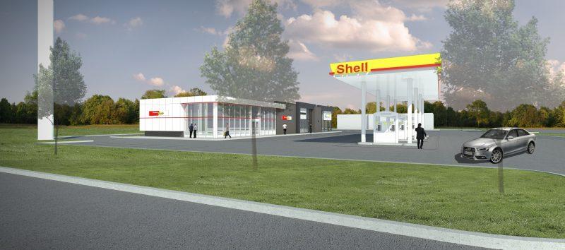 Un bâtiment comprenant une station d'essence et de la restauration rapide va  sortir de terre à l'angle du chemin de l'Industrie et de la Montée Saint-Jean-Baptiste.