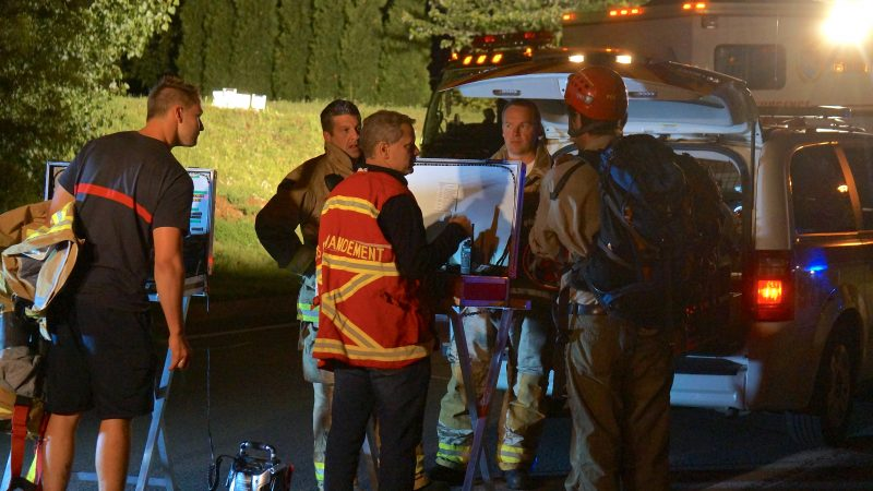 L'équipe des pompiers araignées de Mont-Saint-Hilaire.