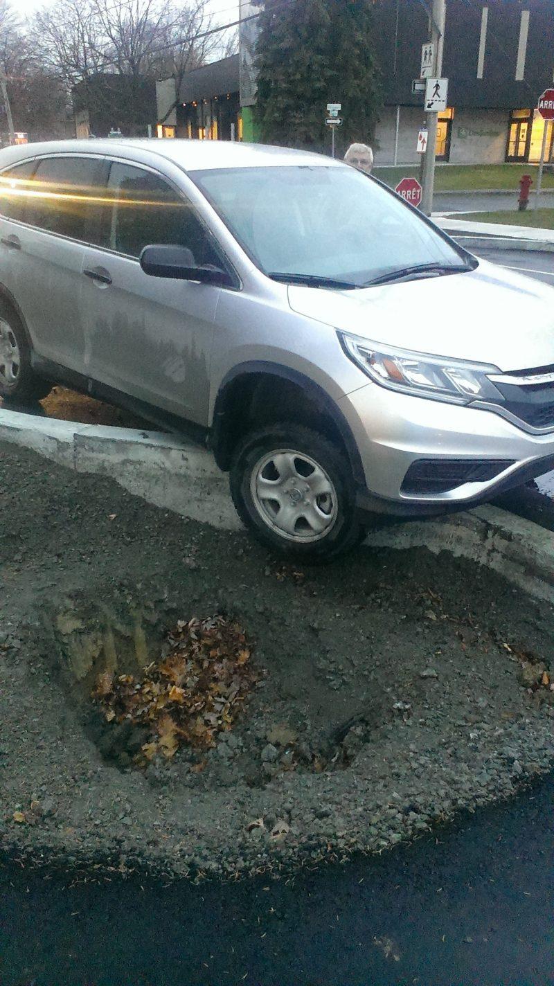 Un automobiliste tombe dans un trou destiné à un arbre