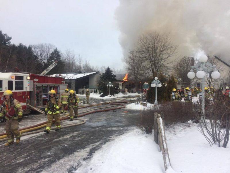 Incendie majeur au  Strøm Spa de Saint-Hilaire