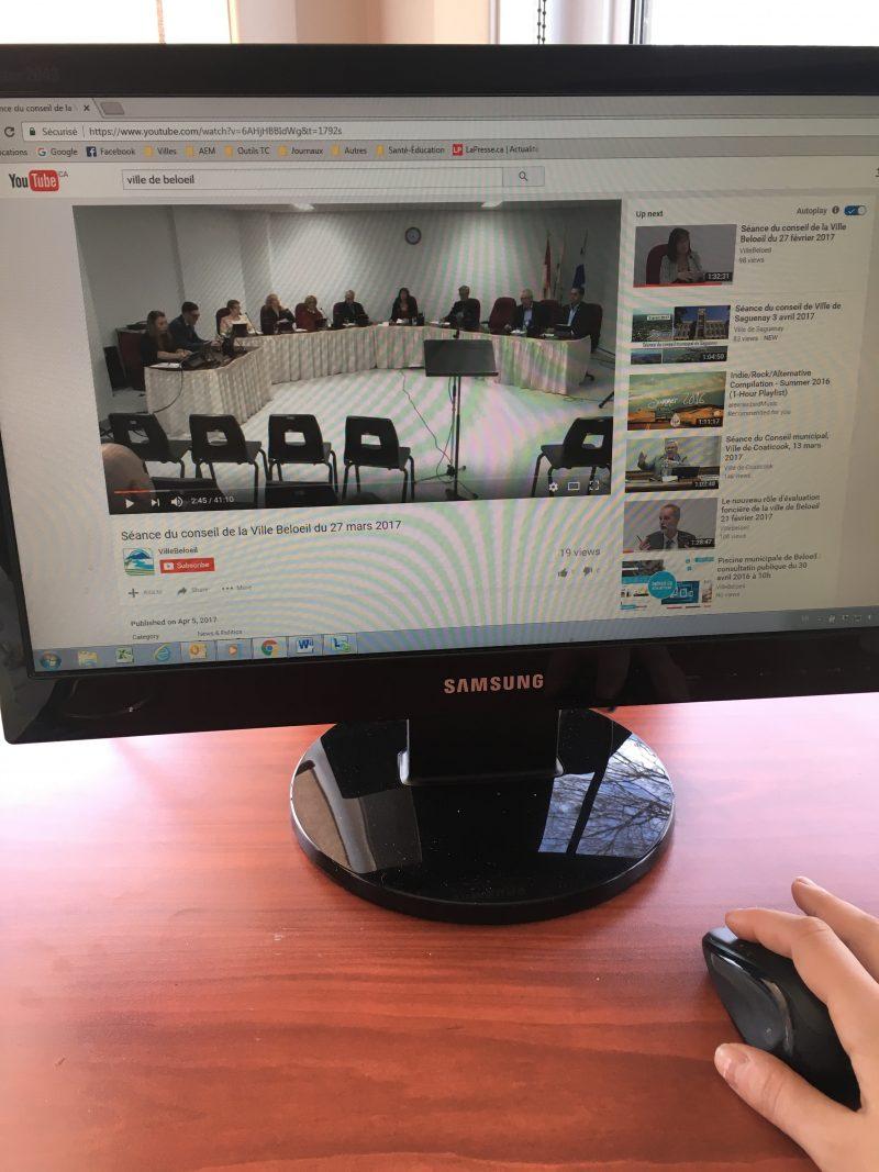 Les séances du conseil municipal sont disponibles sur le site YouTube.