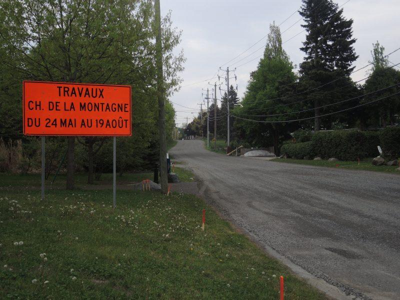 Les travaux sur le chemin de la Montagne ont débuté le 24 mai à l'intersection du chemin Ozias-Leduc.