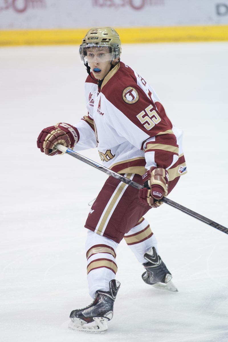 Guillaume Brisebois (#55) , of Acadie-Bathurst Titan (QMJHL), Drummondville, Que., Oct. 3, 2014.  THE CANADIAN PRESS IMAGES/Ghyslain Bergeron
