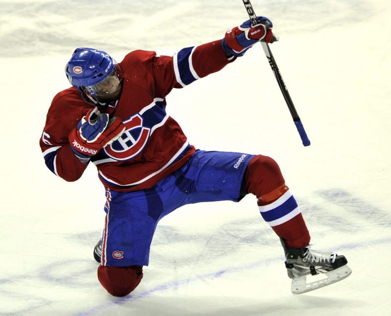 Montreal Canadiens' P.K. Subban celebrates after scoring the winning goal against the Calgary Flames during overtime National Hockey League action Monday, January 17, 2011  in Montreal. THE CANADIAN PRESS/Ryan Remiorz