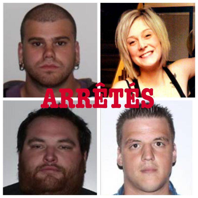 Les suspects Jacques Alexandre, Ariane Vermette, Charles-Alexandre St-Pierre et Sylvain Lavoie ont été arrêtés.