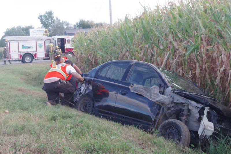 Accident sur le chemin Benoit. Photo: Dominique Saint-Pierre