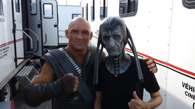 Lee Villeneuve en plein tournage de X-Men: Apocalypse.
