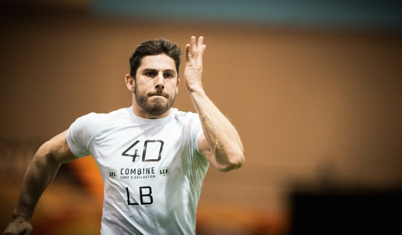 Mickael Cote (40) during the CFL Combine at the RBC Convention Centre in Winnipeg MB, Saturday, March 24, 2018 (Photo: Johany Jutras)