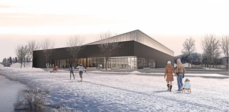 Le projet aquatique sur le bord de la 20 aura les mêmes normes de stationnement que le centre aquatique de Beloeil. Maquette: Archives