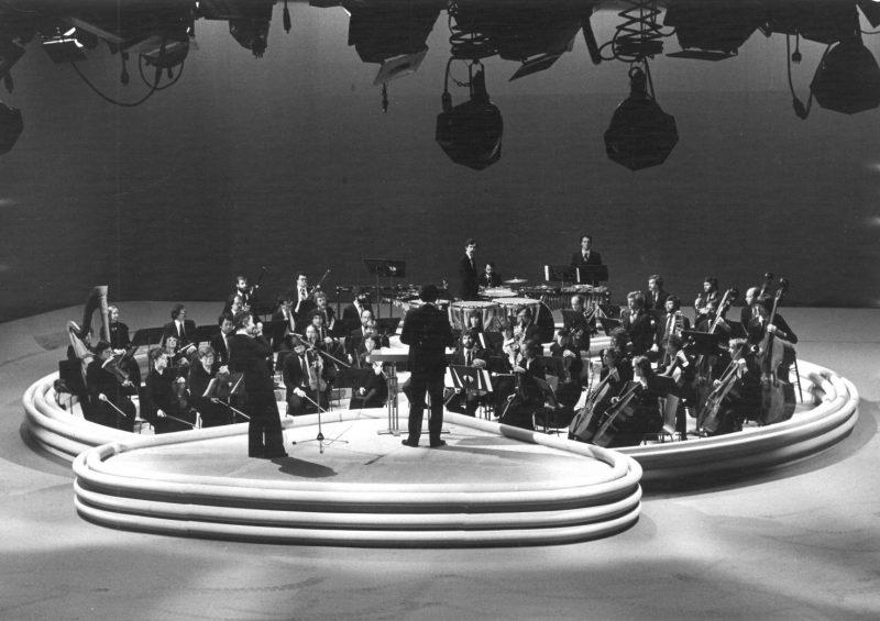 Photo prise dans les locaux de Radio-Canada en 1983 lors de l'enregistrement original de L'astronote pour Les Beaux Dimanches. Photo: Gracieuseté de Daniel Lessard