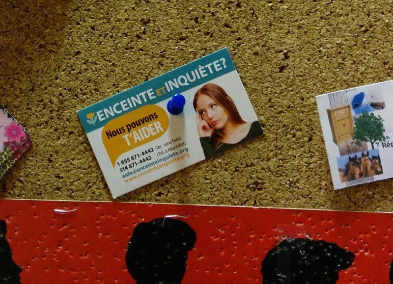 La carte «Enceinte et inquiète» propose un service de soutien associé à un groupe antiavortement. Photo: Gracieuseté