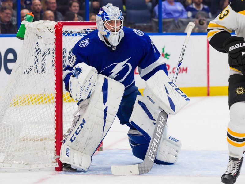 TAMPA, FL - DECEMBER 6: Goalie Louis Domingue #70 of the Tampa Bay Lightning skates against the Boston Bruins during the second period at Amalie Arena on December 6, 2018 in Tampa, Florida.  (Photo by Scott Audette/NHLI via Getty Images)