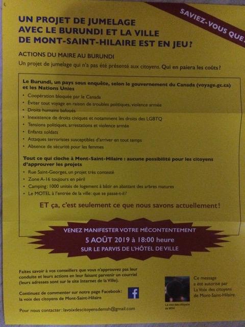 L'invitation à la manifestation du 5 août, sur le parvis de l'hôtel de ville de Mont-Saint-Hilaire.