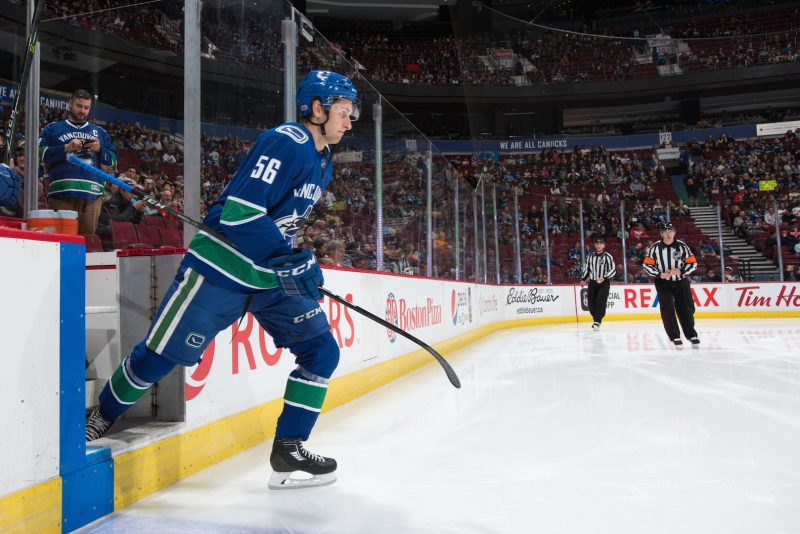 VANCOUVER, BC - SEPTEMBER 17:  Vancouver Canucks vs Las Vegas Golden Knights preseason NHL game at Rogers Arena on September 17, 2017 in Vancouver, British Columbia, Canada. (Photo by Derek Cain / Vancouver Canucks)