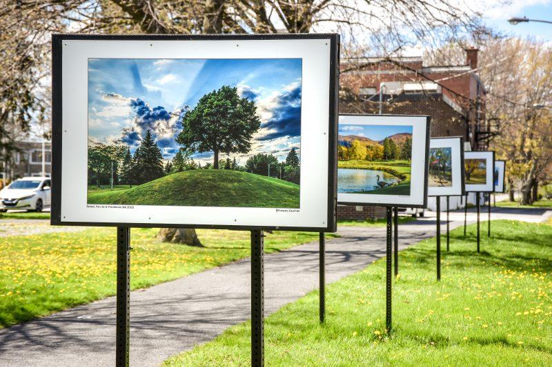 Une trentaine de photos représentant les différents parcs et espaces verts de Belœil sont actuellement exposées au parc des Patriotes. Les autres se trouvent près de la maison de la culture Villebon. Photo François Larivière | L'Œil Régional ©