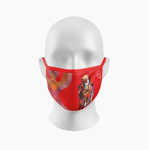 Dans le contexte de la COVID-19, l'art sportif de France Malo se retrouve bien en évidence sur les masques de la collection Apogee-Malo, dont voici un des modèles. Photo gracieuseté