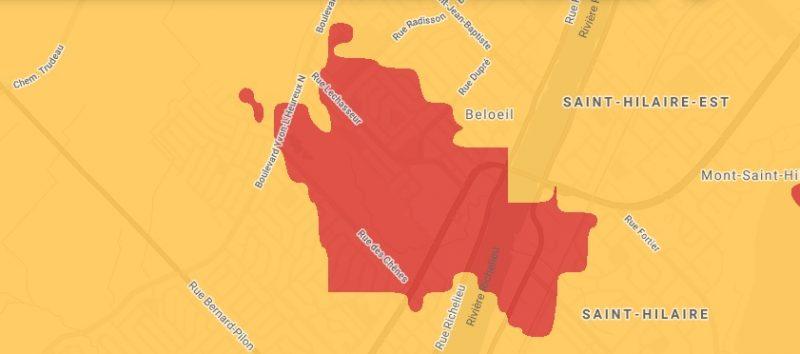Le site de Rogers permet de voir en rouge la couverture 5G à Belœil et dans la région. Cette nouvelle technologie est le fruit d'une simple mise à jour des installations déjà en place. Capture d'écran